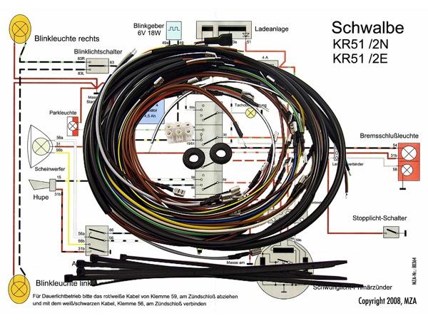 kabelbaumset inkl schaltplan kr51 2 e kr51 2 n simso. Black Bedroom Furniture Sets. Home Design Ideas