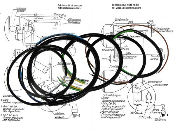 kabelbaumset inkl schaltplan sr1 sr2 sr2 e schwarz. Black Bedroom Furniture Sets. Home Design Ideas