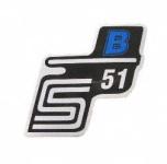 """Aufkleber / Schriftzug """"S51 B"""" für Seitendeckel, B=blau"""