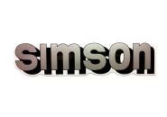 """Aufkleber / Schriftzug """"simson"""" für Tank, silber/schwarz"""