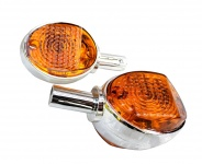 Set Blinker Schwalbe - 8580.26 - Chromlook + oranges Glas - mit E-Prüfzeichen
