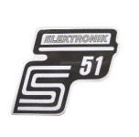 """Aufkleber / Schriftzug """"S51 Elektronik"""" für Seitendeckel, Elektronik=silber"""