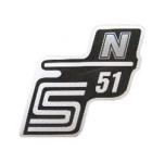 """Aufkleber / Schriftzug """"S51 N"""" für Seitendeckel, N=silber"""