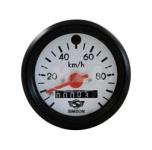 Tacho mit Beleuchtung und Blinkkontrollleuchte grün - ø60 mm - 100 km/h - roter Zeiger, weißes Ziffernblatt mit SIMSON-Logo