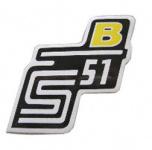 """Aufkleber / Schriftzug """"S51 B"""" für Seitendeckel, B=gelb"""