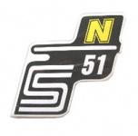 """Aufkleber / Schriftzug """"S51 N"""" für Seitendeckel, N=gelb"""