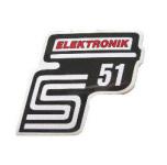 """Aufkleber / Schriftzug """"S51 Elektronik"""" für Seitendeckel, Elektronik=rot"""