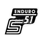 """Aufkleber / Schriftzug """"S51 Enduro"""" für Seitendeckel, Enduro=weiß"""