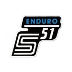"""Aufkleber / Schriftzug """"S51 Enduro"""" für Seitendeckel, Enduro=blau"""