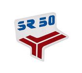 """Aufkleber / Schriftzug """"SR50"""" für Knieschutzblech (Beinblech), rot/blau"""