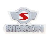 """Aufkleber / Schriftzug """"SIMSON"""" mit Emblem, silber/rot"""