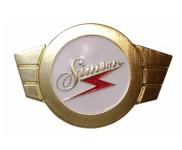 ALU Warenzeichenplakette (Firmenschild SIMSON) für Lenkerschale - goldfarben