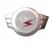 ALU Warenzeichenplakette (Firmenschild SIMSON) für Lenkerschale - silberfarben