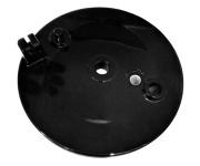 Bremsschild hinten - schwarz glänzend - mit Loch für Bremskontakt - mit Aufnahme für Bowdenzug