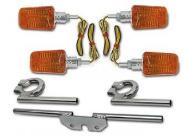 Miniblinker Chrom im Satz - 4 x Blinker + 3 x Träger mit 12V 20W Halogenglühlampe