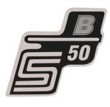 """Aufkleber / Schriftzug """"S50 B"""" für Seitendeckel, B=silber"""