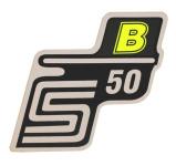 """Aufkleber / Schriftzug """"S50 B"""" für Seitendeckel, B=neon-gelb"""