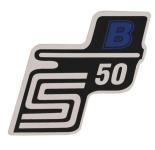 """Aufkleber / Schriftzug """"S50 B"""" für Seitendeckel, B=blau"""