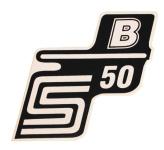 """Aufkleber / Schriftzug """"S50 B"""" für Seitendeckel, B=weiß"""