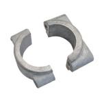 Set 1x Formstück + 1x Klemmbrücke für vorderes Schutzblech/ Kotflügelhalter, innen + außen - Oberflächen unbearbeitet