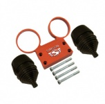 SET Armaturenträger mit Anbauteilen und Manschetten für Rundinstrumente ø 60 mm Tacho + DZM - Alu orange - SIMSON Logo erhaben