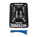 Wechsel-Kennzeichenhalterung, schwarz, Aufdruck: SIMSON - 168x122mm