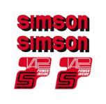 Set Klebefolie, Aufkleber für SIMSON Tank und Seitendeckel, rot/schwarz/weiß - VAPE-POWER-INSIDE