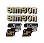 Set Klebefolie, Aufkleber für SIMSON Tank und Seitendeckel, schwarz/gold/weiß - VAPE-POWER-INSIDE
