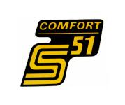 """Aufkleber / Schriftzug """"S51 Comfort"""" für Seitendeckel, dunkelgelb"""