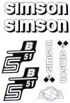 Set Klebefolie S51B, Aufkleber für SIMSON Tank und Seitendeckel, weiß