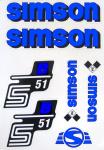 Set Klebefolie S51B, Aufkleber für SIMSON Tank und Seitendeckel, blau