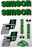 Set Klebefolie S51B, Aufkleber für SIMSON Tank und Seitendeckel, grün