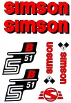Set Klebefolie S51B, Aufkleber für SIMSON Tank und Seitendeckel, rot