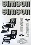 Set Klebefolie S51N, Aufkleber für SIMSON Tank und Seitendeckel, silber