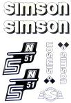 Set Klebefolie S51N, Aufkleber für SIMSON Tank und Seitendeckel, weiß