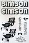 Set Klebefolie S51N, Aufkleber für SIMSON Tank und Seitendeckel, weiß/silber