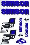 Set Klebefolie S51N, Aufkleber für SIMSON Tank und Seitendeckel, blau