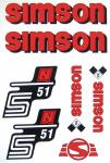 Set Klebefolie S51N, Aufkleber für SIMSON Tank und Seitendeckel, rot