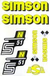 Set Klebefolie S51N, Aufkleber für SIMSON Tank und Seitendeckel, gelb