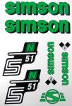 Set Klebefolie S51N, Aufkleber für SIMSON Tank und Seitendeckel, grün