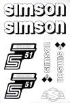 Set Klebefolie S51E, Aufkleber für SIMSON Tank und Seitendeckel, weiß