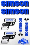 Set Klebefolie S51E, Aufkleber für SIMSON Tank und Seitendeckel, blau