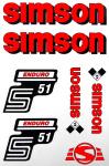 Set Klebefolie S51E, Aufkleber für SIMSON Tank und Seitendeckel, rot