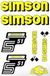 Set Klebefolie S51E, Aufkleber für SIMSON Tank und Seitendeckel, gelb