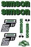 Set Klebefolie S51E, Aufkleber für SIMSON Tank und Seitendeckel, grün