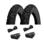 Vee Rubber Reifen SET 2 Stück - Reifen 3,00 x 12 (VRM 094) 43J + Schläuche + Felgenbänder