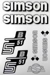 Set Klebefolie S51B, Aufkleber für SIMSON Tank und Seitendeckel, weiß/silber