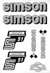 Set Klebefolie S51E, Aufkleber für SIMSON Tank und Seitendeckel, silber