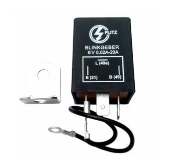 Elektronischer Blinkgeber 6V PLITZ - 3-poliger Anschluß (31, 49, 49a) - mit Haltewinkel