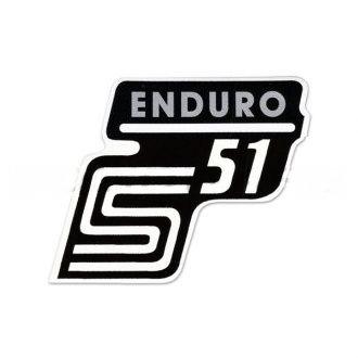 """Aufkleber / Schriftzug """"S51 Enduro"""" für Seitendeckel, Enduro=silber"""